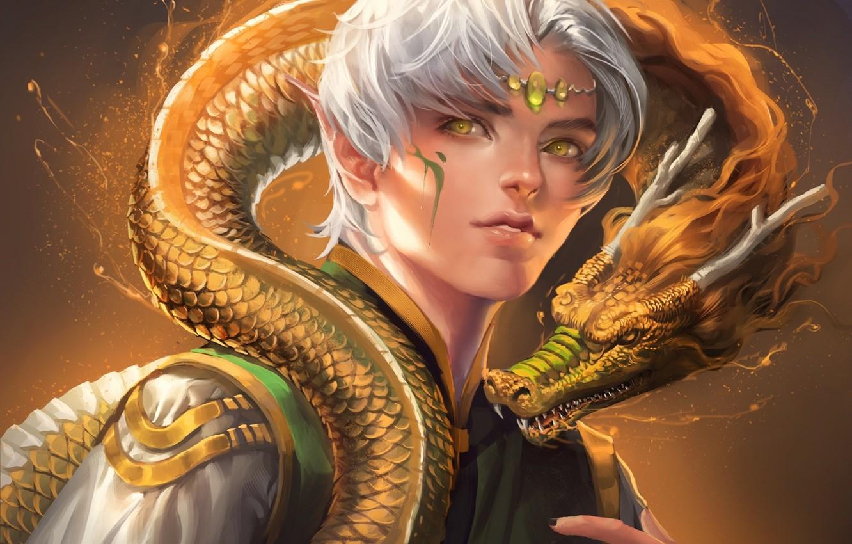 Photo wallpaper eyes, dragon, elf, scales, yellow, horns, guy, sakimichan