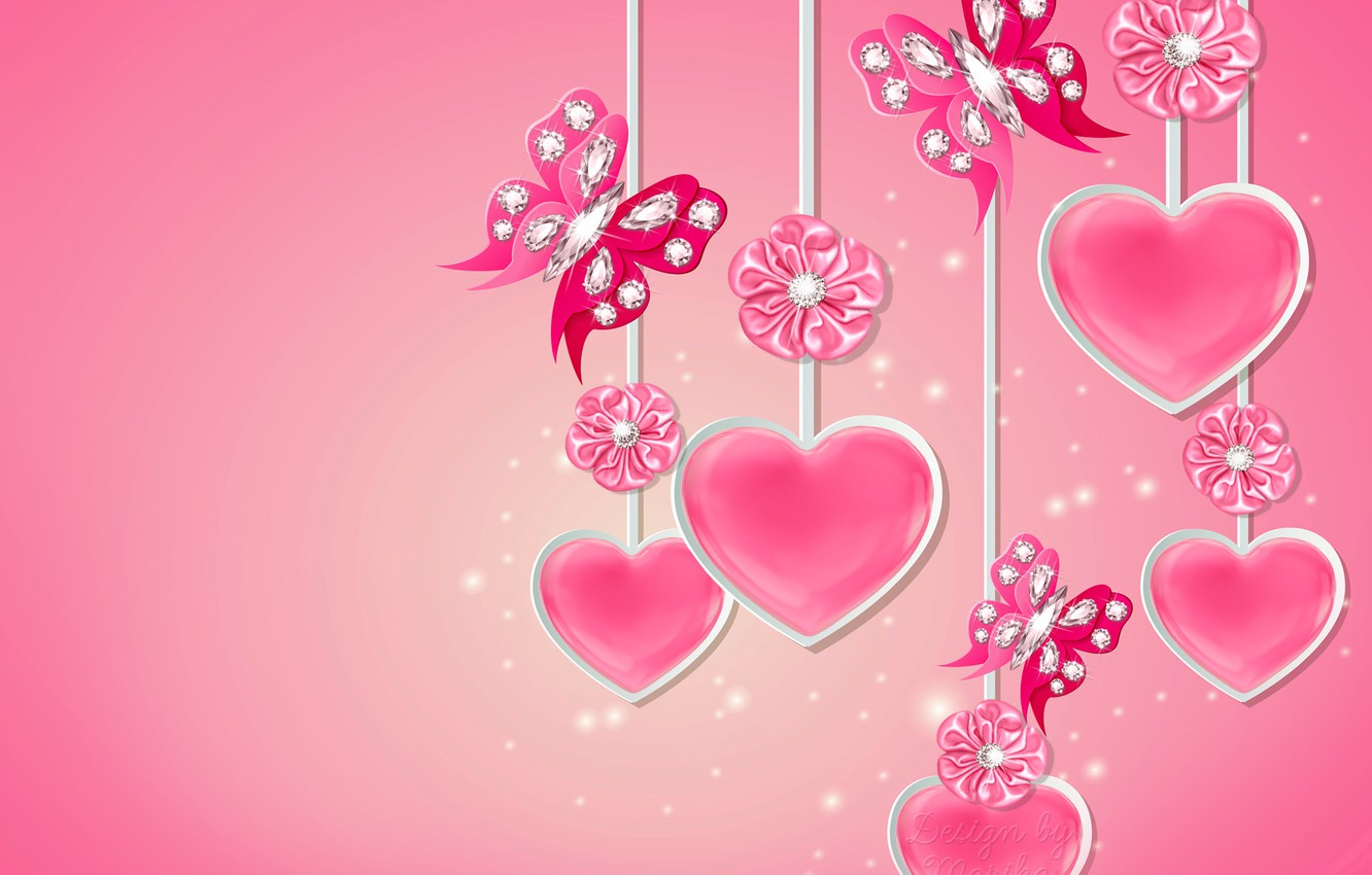Wallpaper Butterfly Heart Diamonds Love Bow Heart Pink