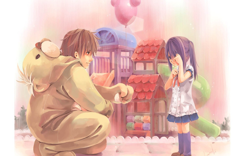 Photo wallpaper balls, childhood, kindness, boy, girl, care, attention