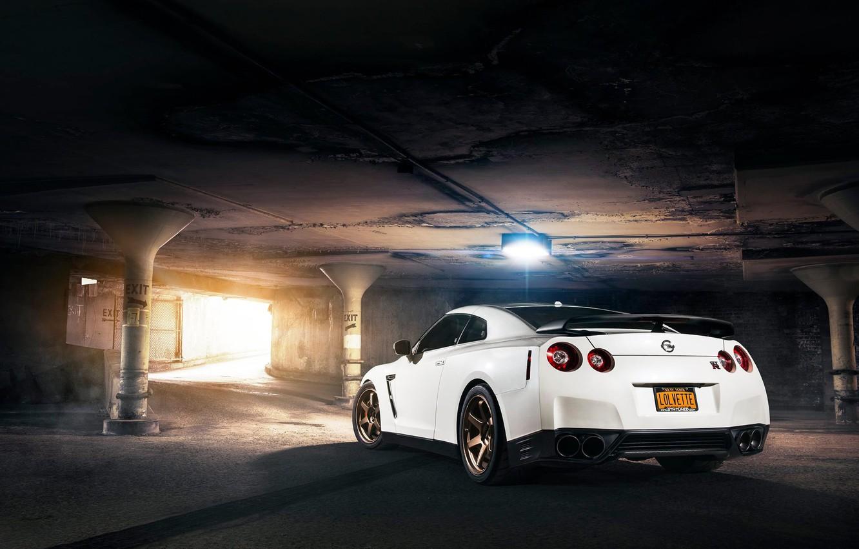 Photo wallpaper Nissan, GT-R, Car, White, R35, Sport, Rear, Evo G