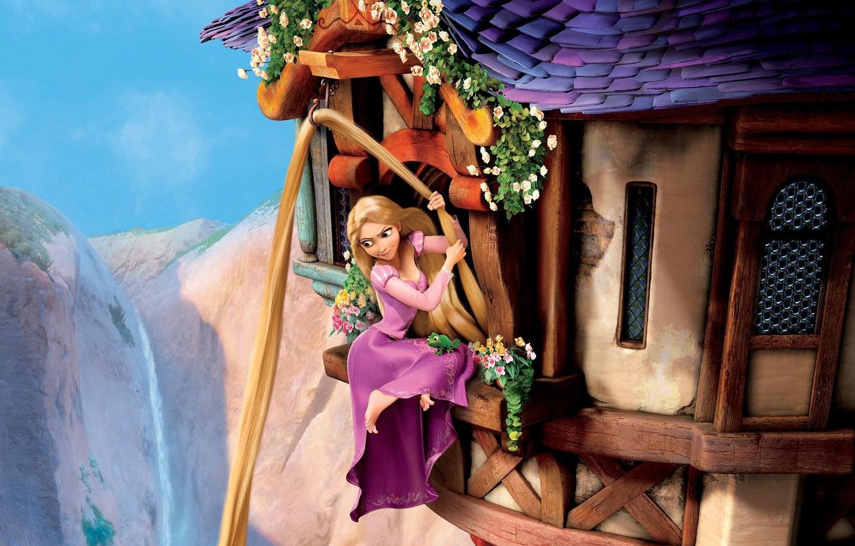 Photo wallpaper the sky, flowers, mountains, chameleon, castle, hair, Windows, tower, Rapunzel, Princess, Tangled, Pascal, Goldilocks, complicated …