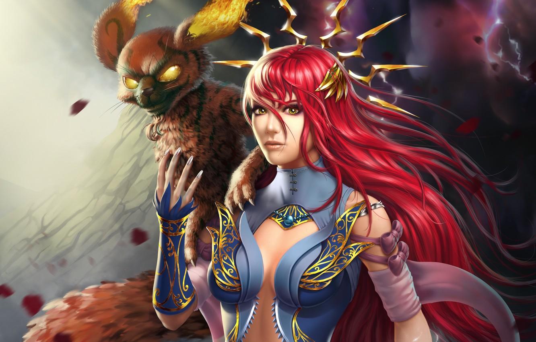 Photo wallpaper look, girl, fantasy, fire, magic, MAG, red, beast, Lana Solaris