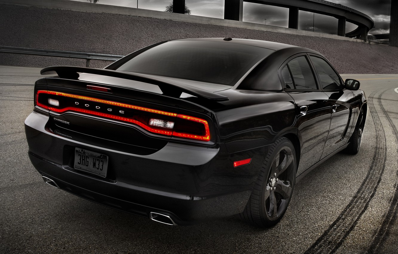 Photo wallpaper road, the sky, black, 2012, Dodge, freeway, rear view, dodge, charger, Blacktop, charger, version, special, …