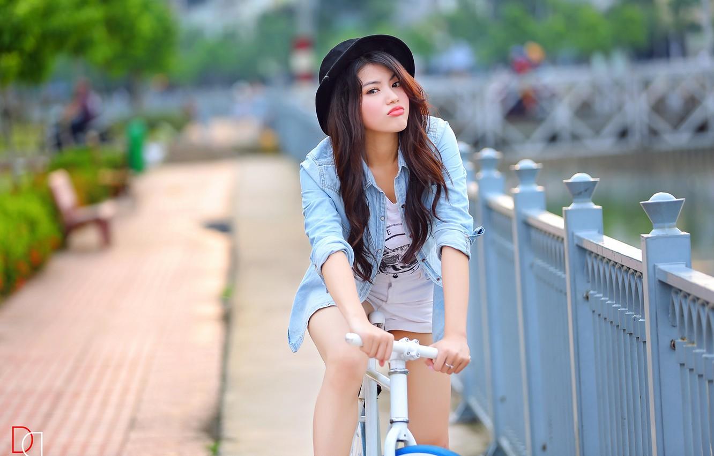 Photo wallpaper girl, bike, Asian