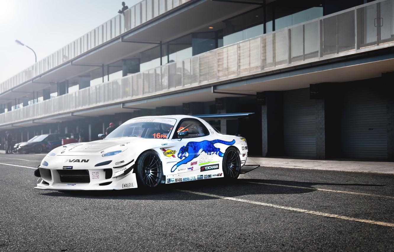 Photo wallpaper Mazda, white, tuning, RX-7, drift car, JDM
