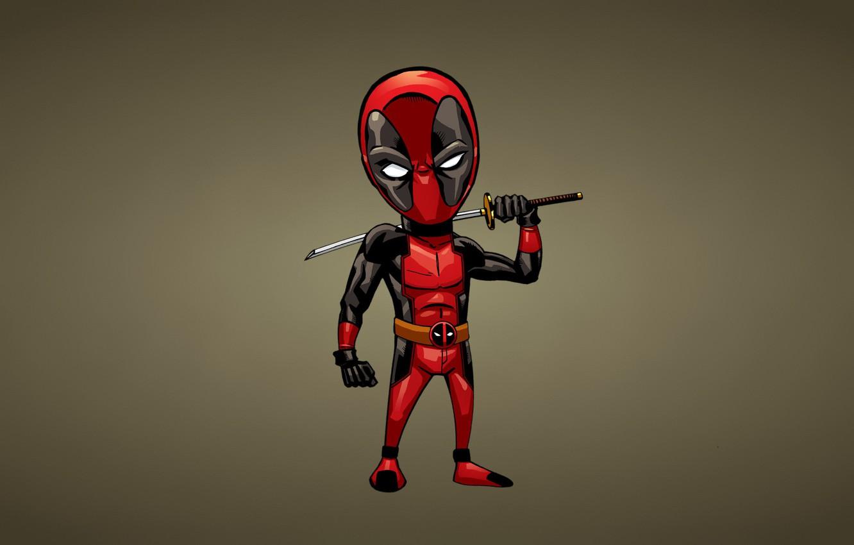 Photo wallpaper red, minimalism, sword, comic, deadpool, deadpool