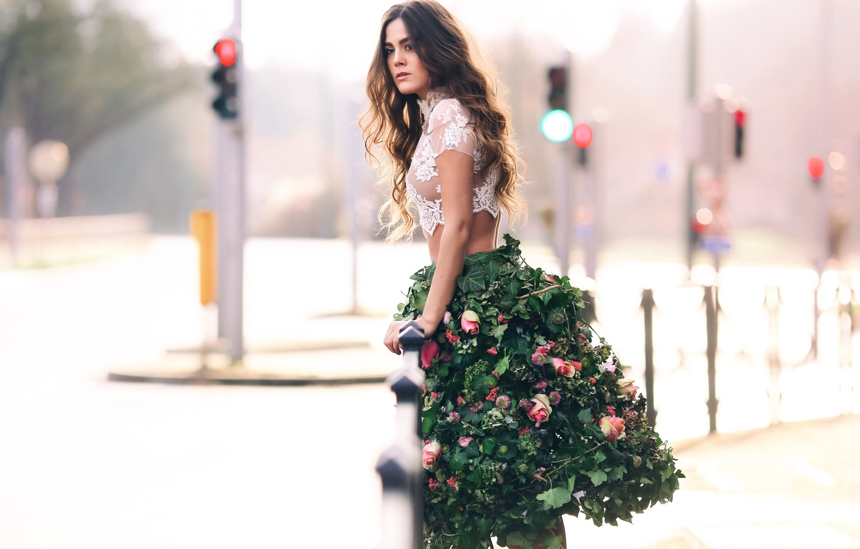 Photo wallpaper leaves, girl, flowers, the city, skirt, David Olkarny, Flowers in town
