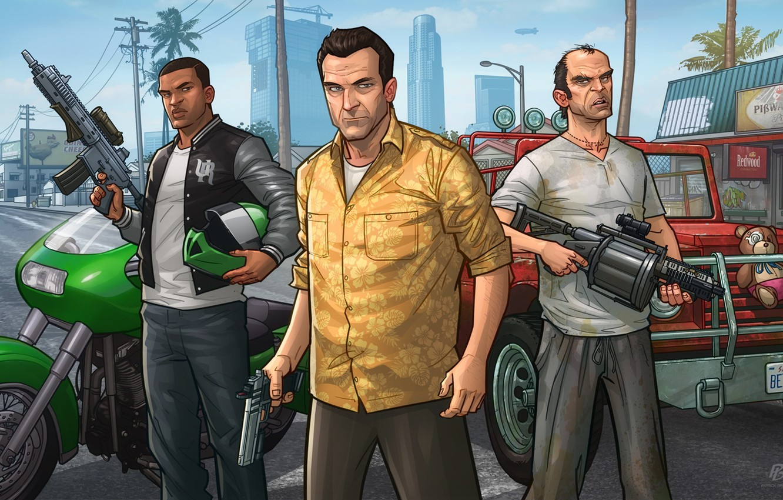 Photo wallpaper art, patrick brown, Michael, gta, Grand Theft Auto V, Rockstar Games, Franklin, Trevor, patrickbrown