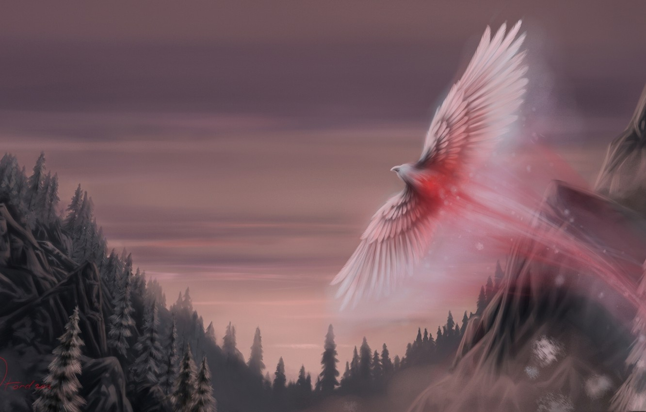 Photo wallpaper forest, bird, wings, fantasy, art, fantasy, art, Oliverford, Snow phoenix, snow Phoenix