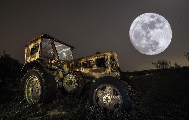 Photo wallpaper machine, background, tractor