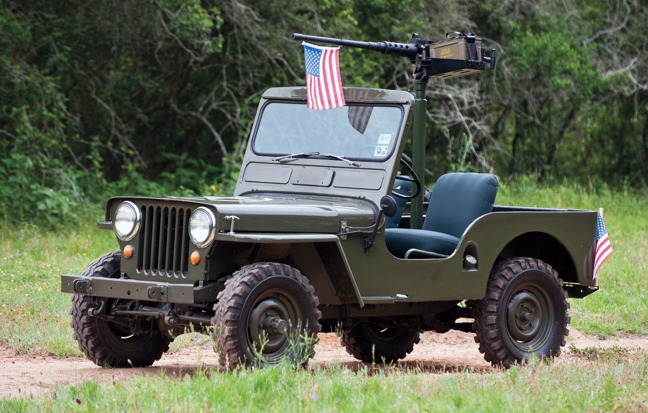 Photo wallpaper grass, trees, background, flag, green, the front, machine gun, 1950, Jeep, Willys, Willis, M38, Jeep.SUV