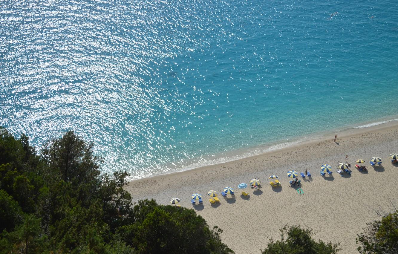 Photo wallpaper sea, beach, umbrellas