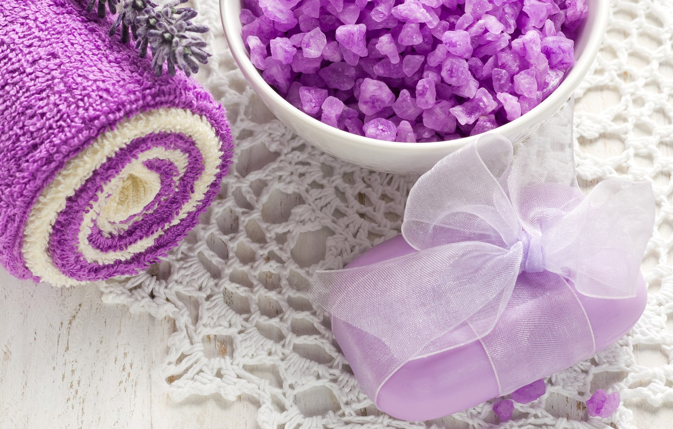 Photo wallpaper towel, soap, relax, Cup, soap, flowers, lavender, Spa, lavender, spa, salt, natural, bath salt