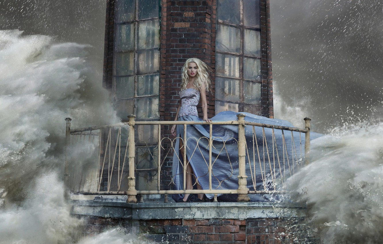 Photo wallpaper wave, water, girl, squirt, storm, lighthouse, dress, blonde