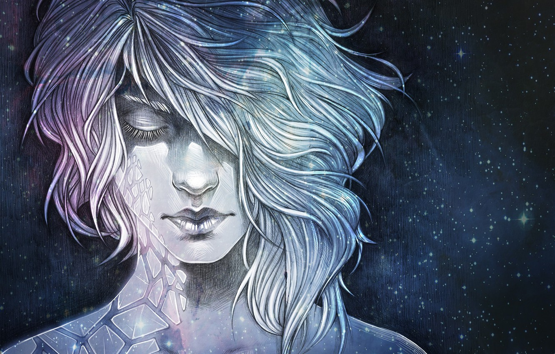 Photo wallpaper girl, space, fiction, art, sci-fi