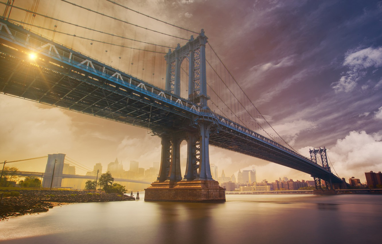 Photo wallpaper landscape, bridge, the city, home, NYC, Manhattan Bridge
