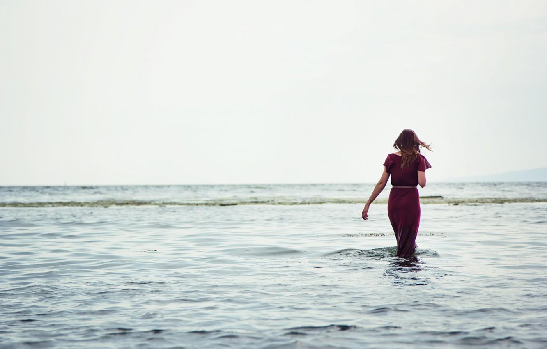 Photo wallpaper sea, water, girl, river, background, the wind, widescreen, Wallpaper, mood, horizon, wallpaper, girl, sea, widescreen, …