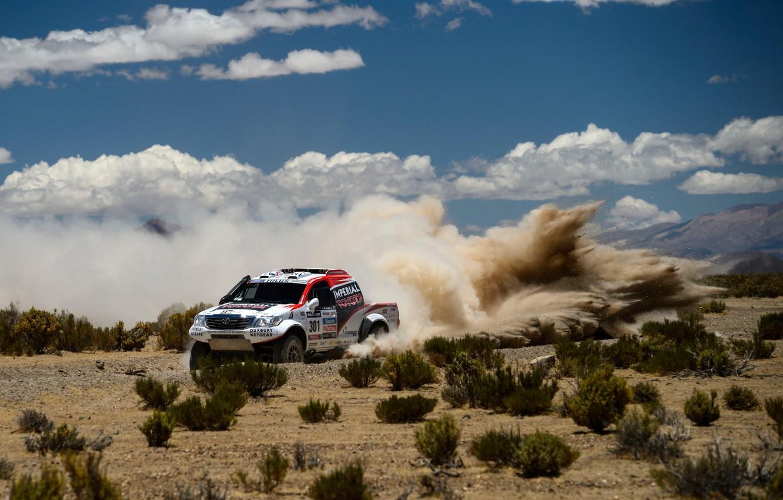 Photo wallpaper Clouds, Toyota, Hilux, Rally, Dakar, Dakar, Toyota