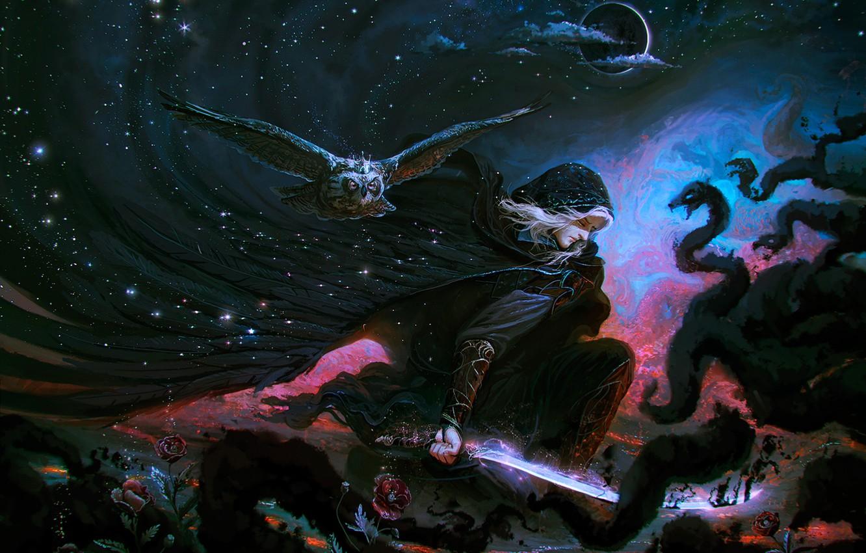 Photo wallpaper the sky, clouds, flowers, night, fantasy, darkness, owl, the moon, people, sleep, roses, sword, hood, …