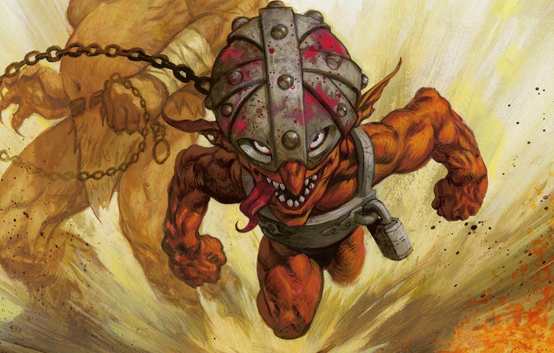 Wallpaper look, attack, blood, rage, chain, helmet, Taran
