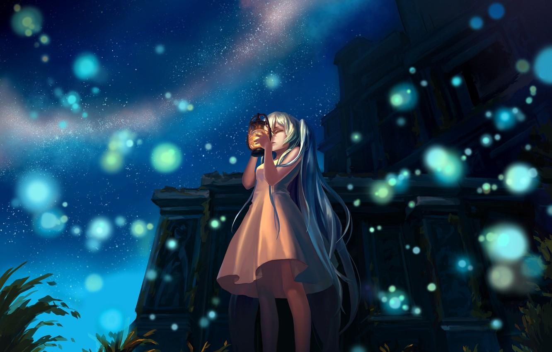 Photo wallpaper girl, night, the building, lights, art, lantern, ruins, vocaloid, hatsune miku, Vocaloid, mizukai