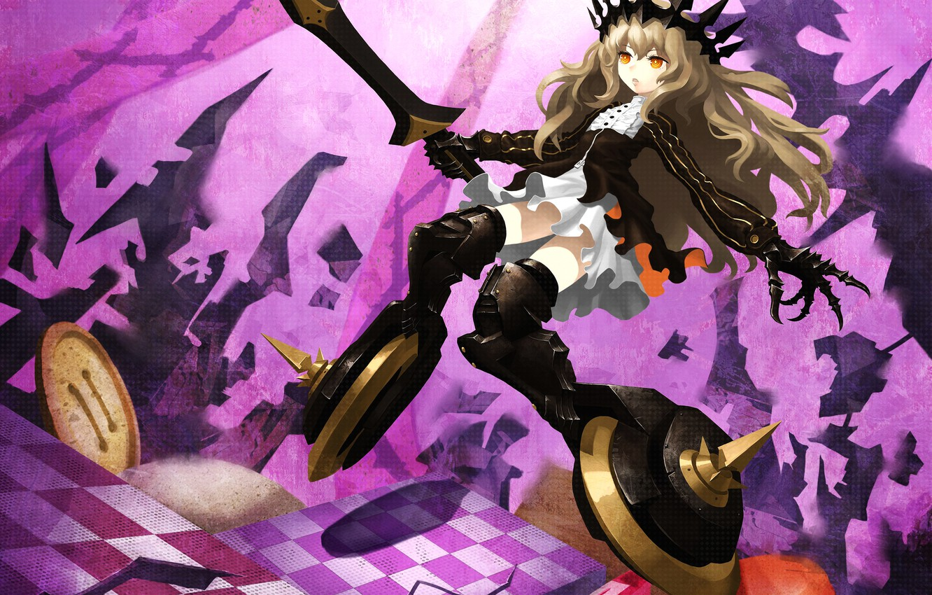 Wallpaper Girl Weapons Sword Anime Crown Art Sweets Buttons