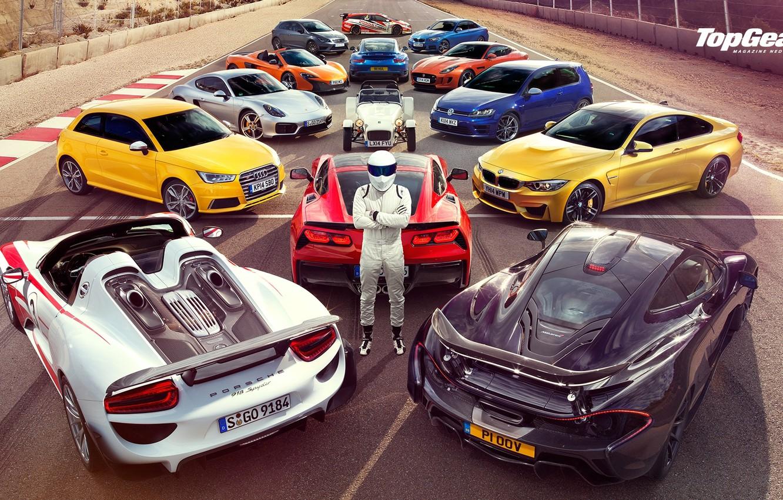 Photo wallpaper Top Gear, Wallpaper, Stig, Supercars, Volkswagen Golf, Porsche 918, BMW M4, McLaren P1, Jaguar F-Type, …