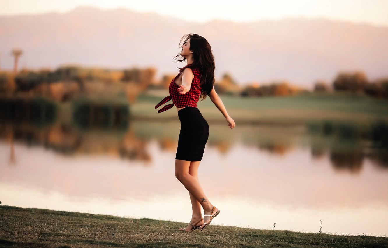 Photo wallpaper girl, dance, figure, David Olkarny, Dancing to freedom