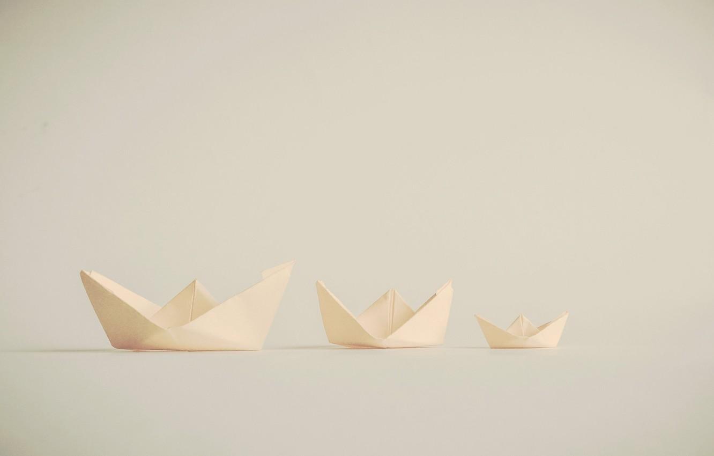 Photo wallpaper paper, origami, boats