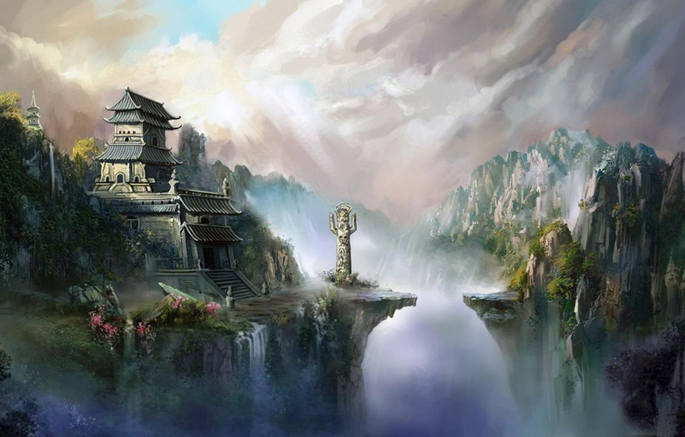 Photo wallpaper clouds, mountains, house, Asia, waterfall, gorge, statue