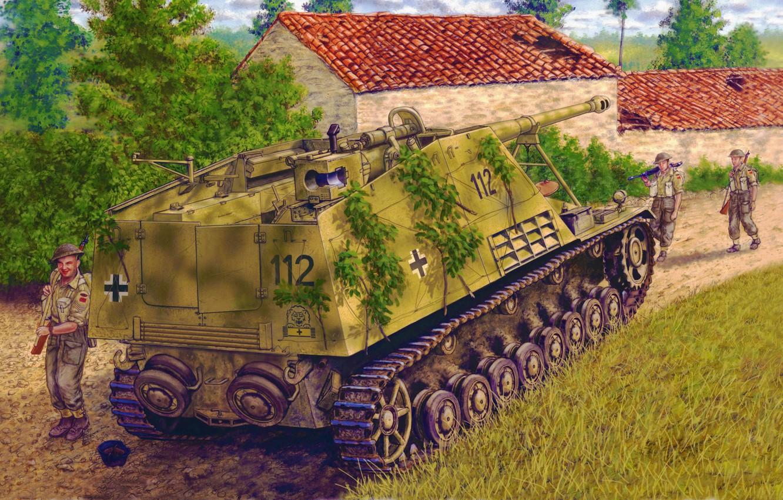 Photo wallpaper war, art, painting, tank, WW2, Sd.Car.164 Nashorn