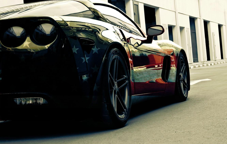 Photo wallpaper machine, stars, Z06, flag, corvette, cars, auto