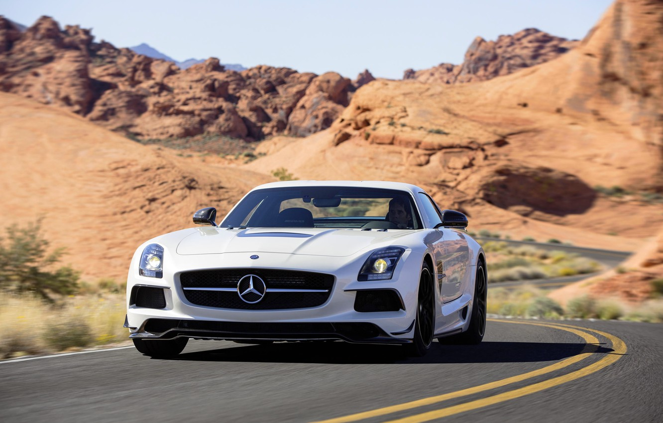 Photo wallpaper Mercedes-Benz, White, Desert, Machine, Mercedes, AMG, Black, SLS, Series, The front, Sports car