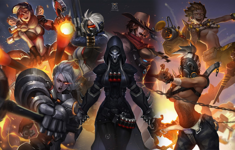 Wallpaper Blizzard, art, Overwatch, female characters