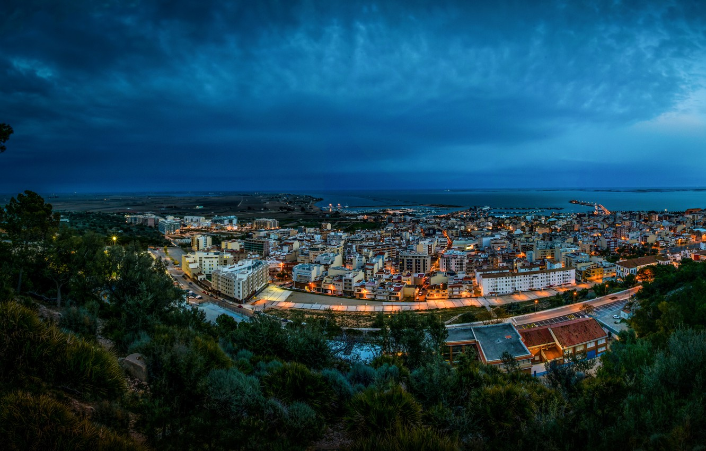 Photo wallpaper sea, night, lights, coast, home, Bay, Spain, Sant Carles de la Rapita