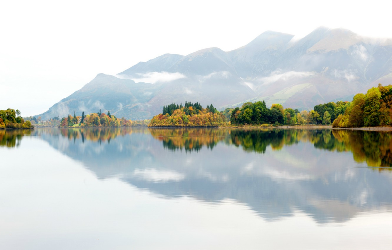 Photo wallpaper autumn, trees, mountains, nature, fog, lake, reflection, England, UK, haze