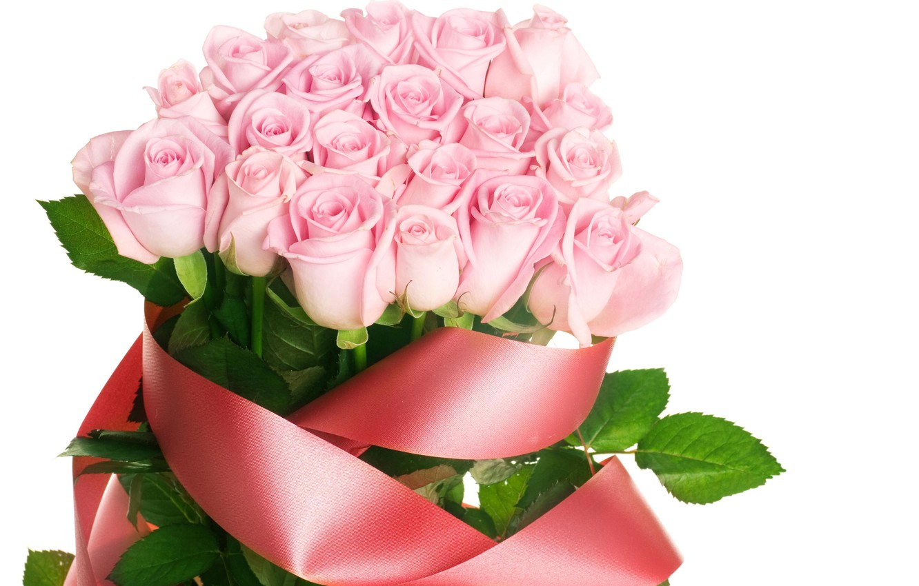 Photo wallpaper flowers, roses, bouquet, tape, pink, red
