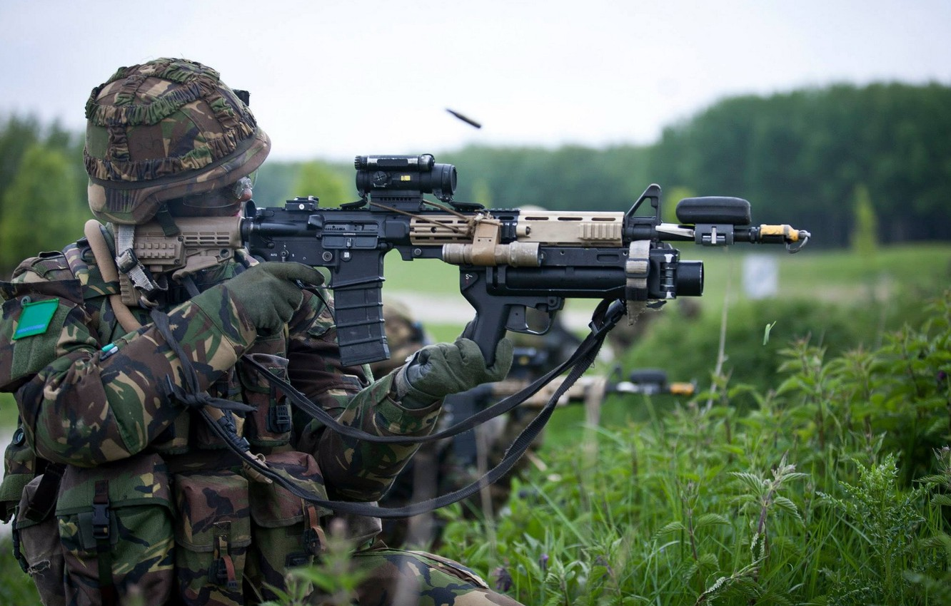 Photo wallpaper weapons, soldiers, shooting, Royal Netherlands Army