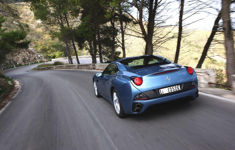 Photo wallpaper Auto, Road, Blue, Machine, Speed, Convertible, Ferrari, Supercar, California, Sports car, The descent