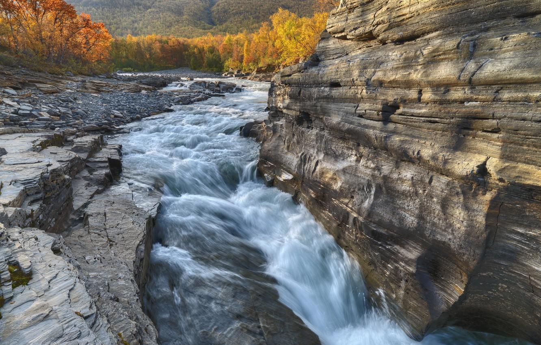 Photo wallpaper autumn, rock, river, Sweden, Sweden, Abisko River, Abisko National Park
