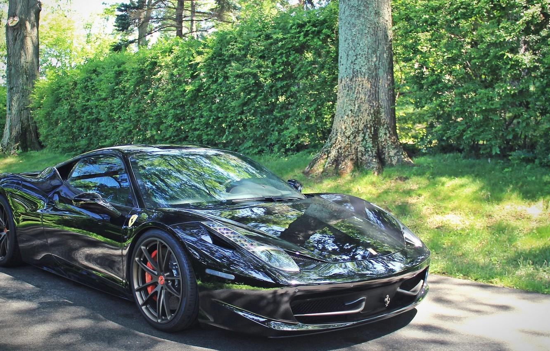 Photo wallpaper road, trees, Ferrari, the bushes, Ferrari 458 Italia, Sports car