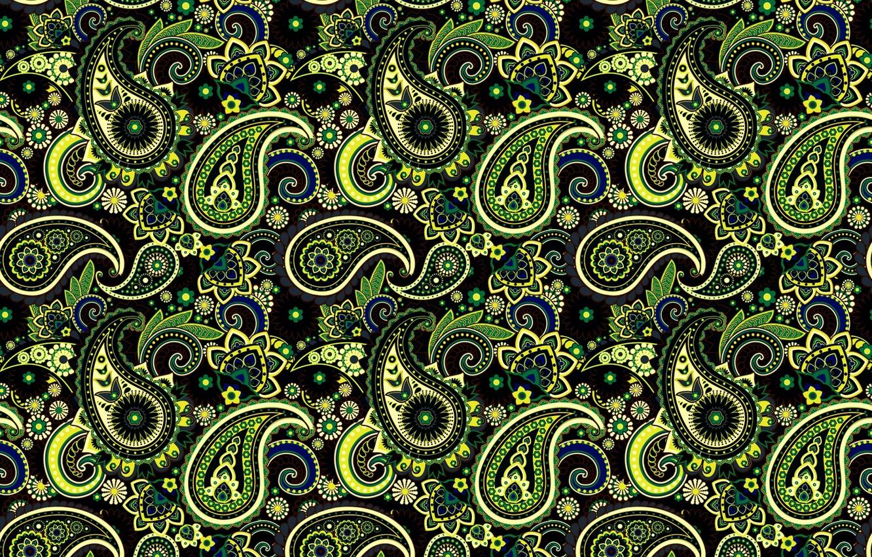 Photo wallpaper green, pattern, ornament, Paisley, Indian cucumbers