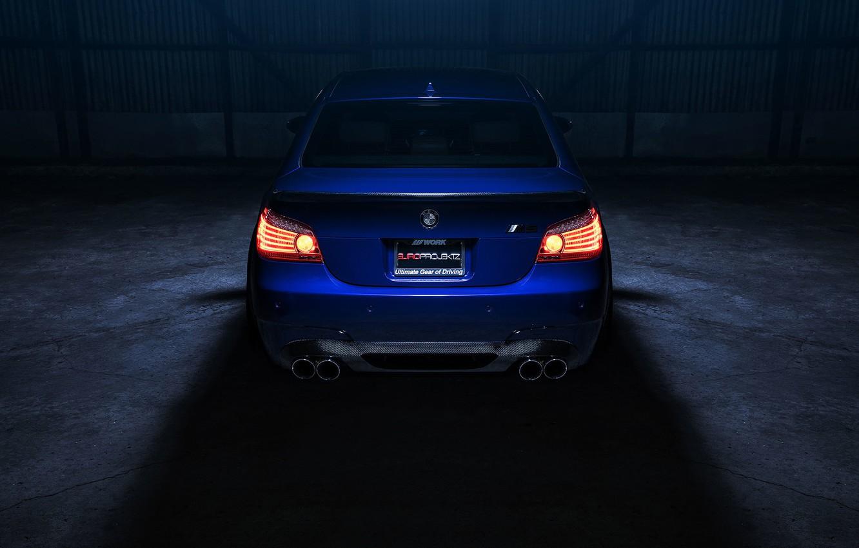 Photo wallpaper BMW, Car, Eyes, Angel, Sport, View, E60, Rear