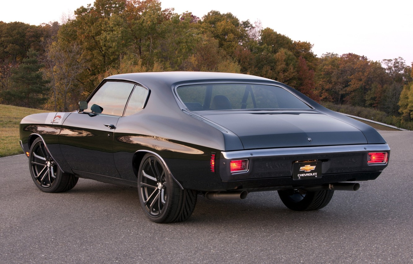 Photo wallpaper road, trees, black, tuning, Chevrolet, Chevrolet, muscle car, classic, rear view, tuning, 1970, Chevelle, Muscle …