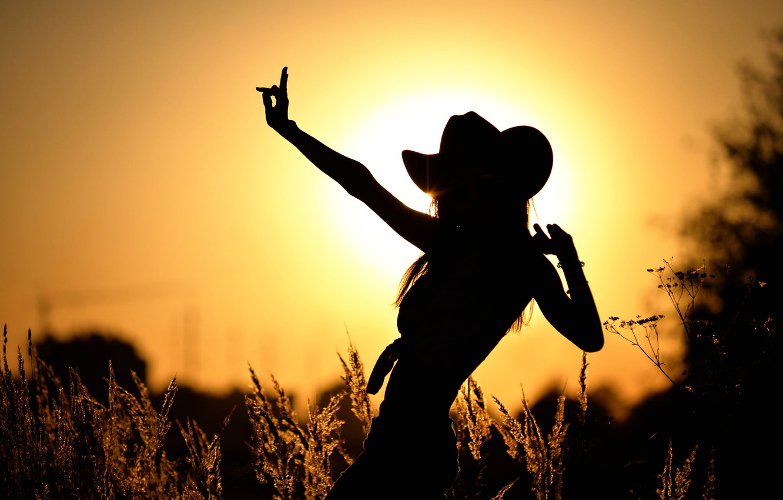 Photo wallpaper girl, the sun, dance, silhouette