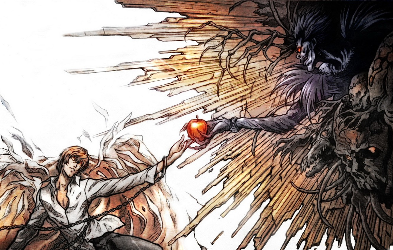 Wallpaper Rays Apple Chain Parody Death Note Death Note