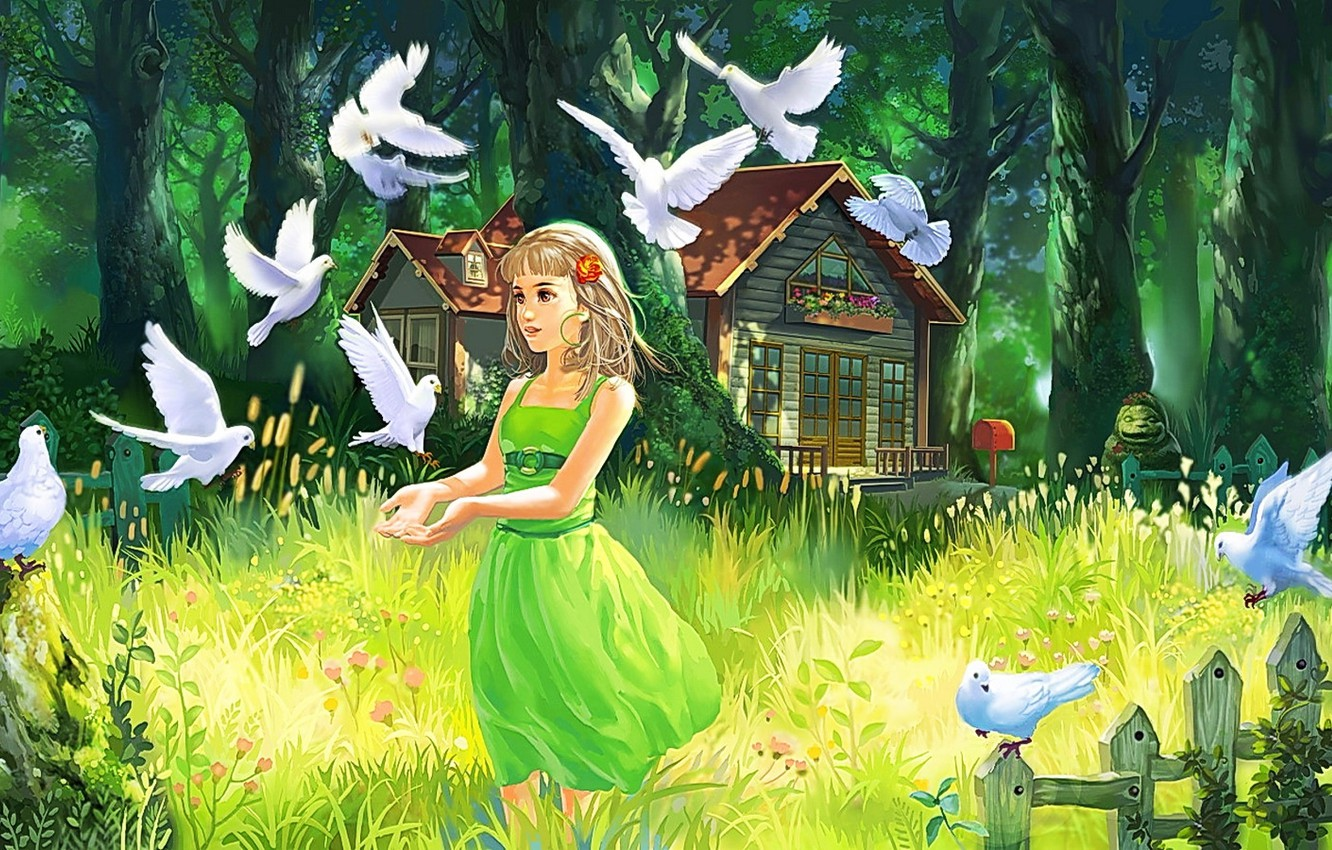 Photo wallpaper forest, summer, grass, eyes, look, girl, trees, nature, hair, the fence, art, house, painting, green ...