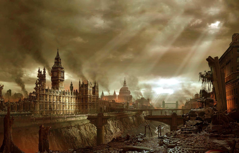Photo wallpaper the city, Apocalypse, London, building, disaster, Big Ben