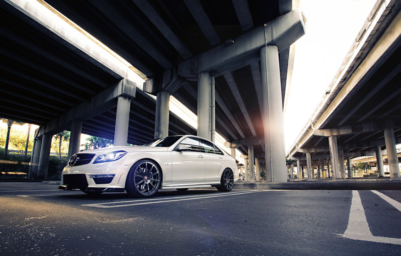 Photo wallpaper Mercedes-Benz, Mercedes, Power, Bridge, AMG, White, Street, Tuning, Road, C63, Sedan, Wheels