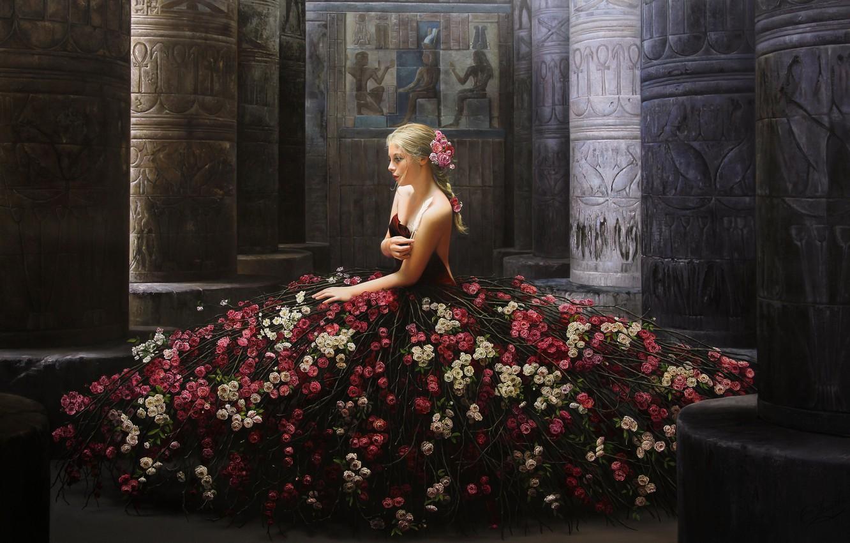 Photo wallpaper girl, flowers, pose, model, roses, dress, columns, painting, sitting